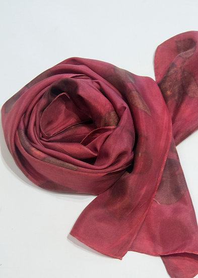 Crimson rose silk scarf