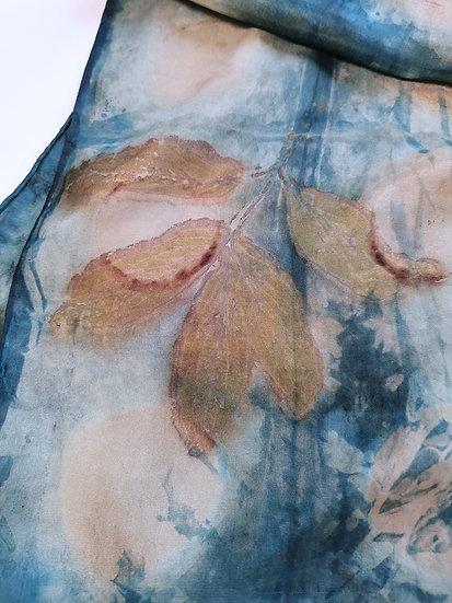 Peony & indigo silk scarf - blues and gold