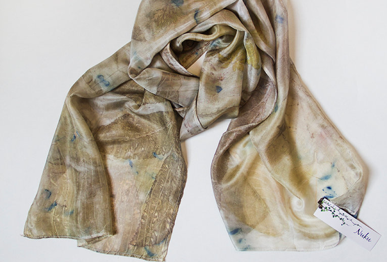 Silk scarf -Nut brown and golds