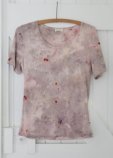 Organic Bamboo Cotton Tee - ice dyed with flowers