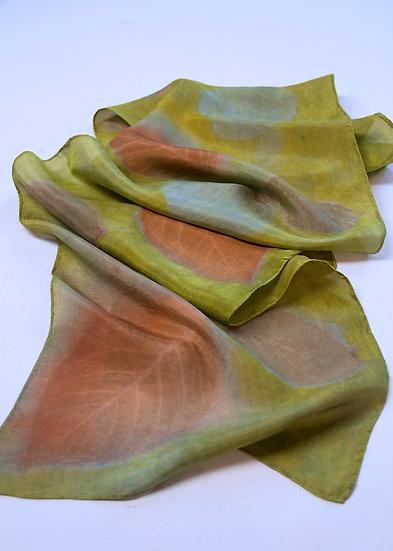 Kelly Green and Cinnamon silk scarf
