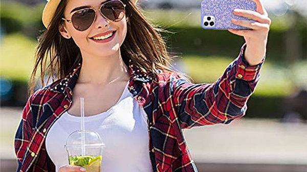 Violette Schutzhülle für iPhone 11, glitzernd