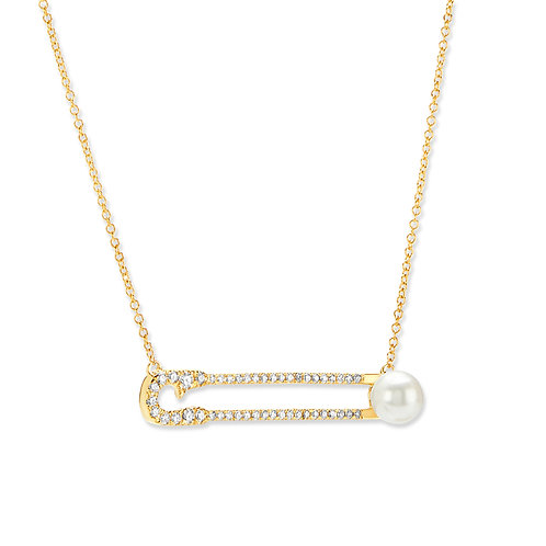 Revel Safety Pin Pearl Pendant