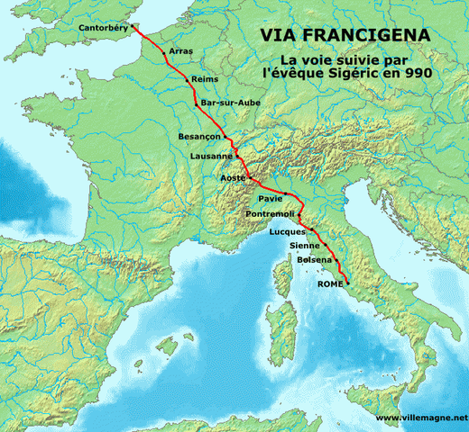 La route de Sigéric en 990, entre Cantorbéry et Rome - Via Francigena