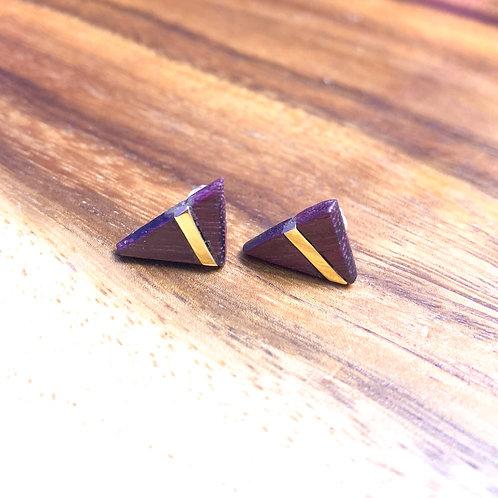 Brass and purple heart wood earrings