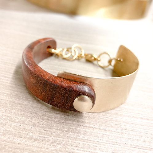 Red wood and brass bracelet