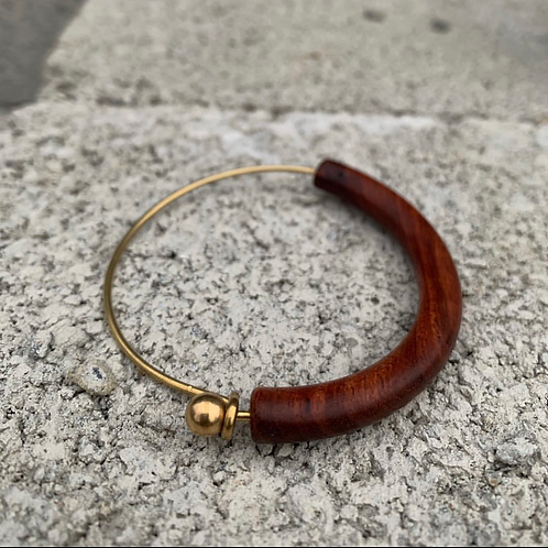 Redwood and brass bracelet