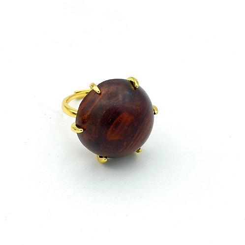 Round wood 18k gold plated ring