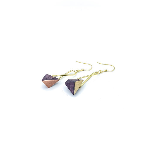 Copper and brass wooden earrings