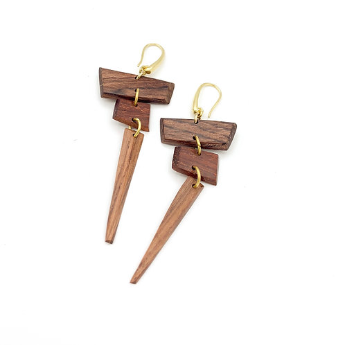 SinniS wood and brass earrings