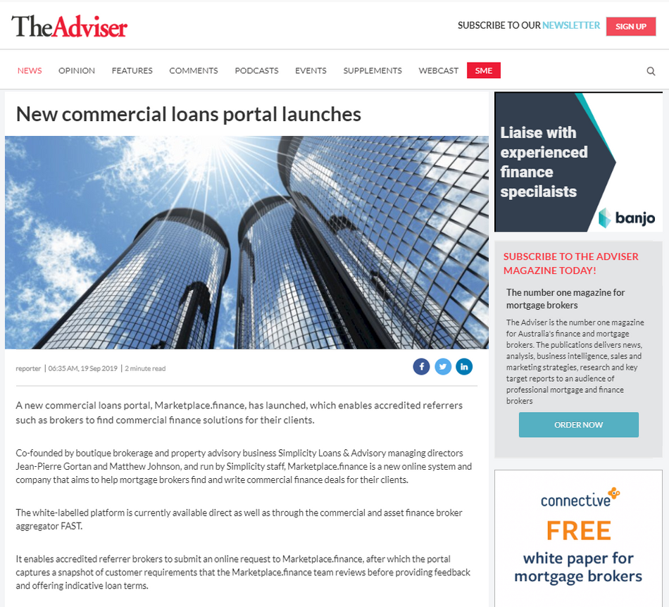 New commercial loans portal launches