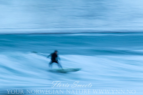 Surfer at Flakstad beach 1