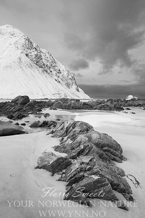 Sandy beach black and white