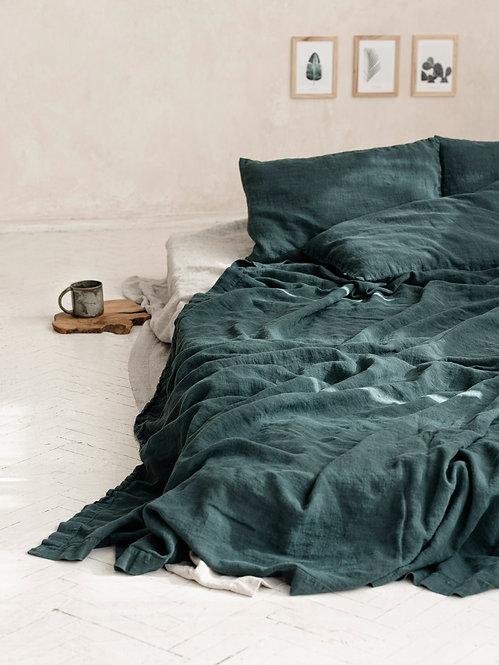 enkelt sengeteppe | grønt lin