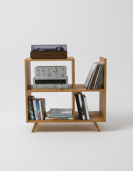 vinyl hylle bokhylle kommode stereo benk audio benk heltre eik