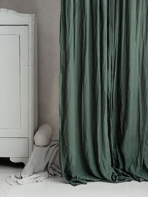grønne stonewashed gardiner av lin