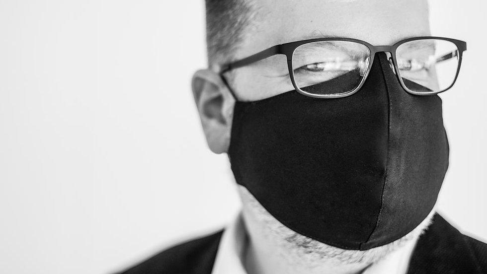 munnbind til menn | svart profilert tekstur