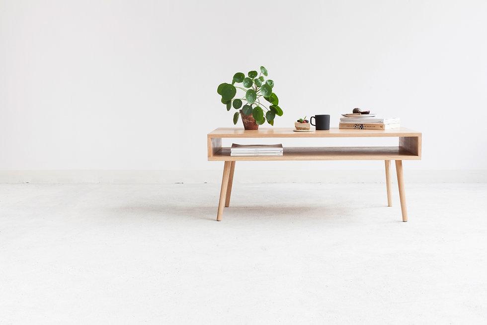 salongbord med hylle av lys eik, retro stil sofabord, sofabord, salongbord, stuebord