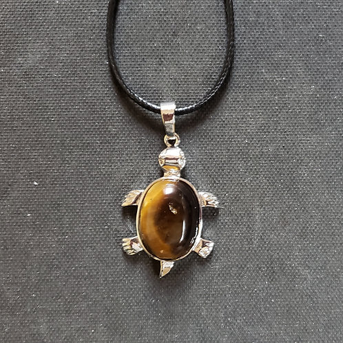 NATURAL Tiger Eye Turtle Necklace (Calm Emotions, Decision and Money Making )