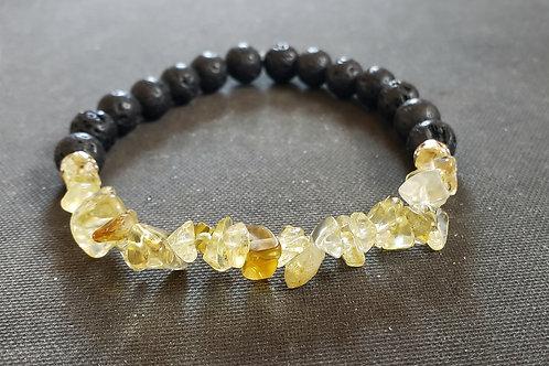 Charged Citrine LavaRock Bracelet(Cleanse aura,remove negatively,health benefits