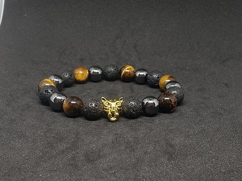 Charged Tiger Eye,Hematite,Lava Bracelet(Healer,Decision Making,Health Benefits)