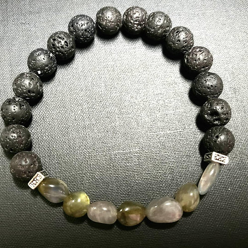Labradorite Lava Rock Oil Essential Bracelet (Remove negative energy,Health)