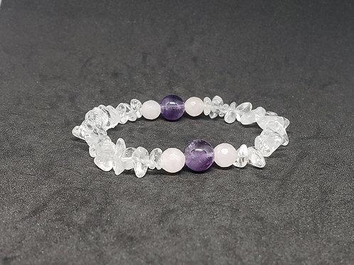 Charged Amethyst,Rose Quartz Bracelet(healer,remove negativity,calm emotions)