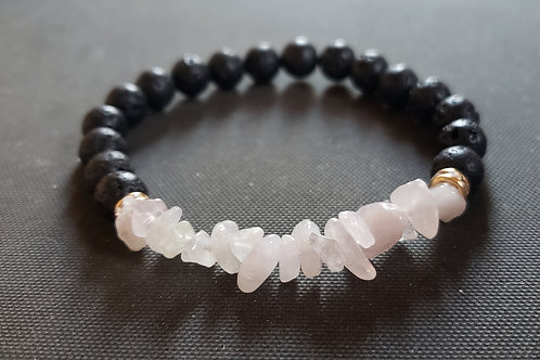 NATURAL Rose Quartz Lava Rock Oil Essential Bracelet(healer,Increase popularity)