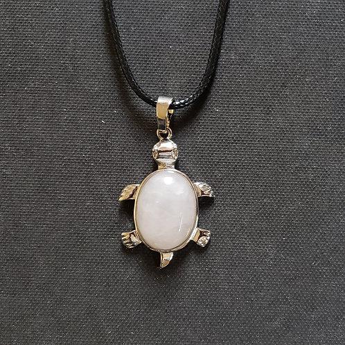 NATURAL Clear Crystal Rock Turtle Necklace (Calm Emotions, Master Healer)