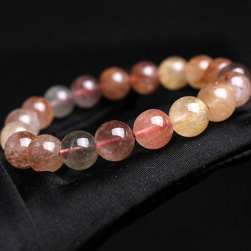 Rutilated Quartz Bracelet (Cleanse aura, remove negative energy,healing)11.2mm