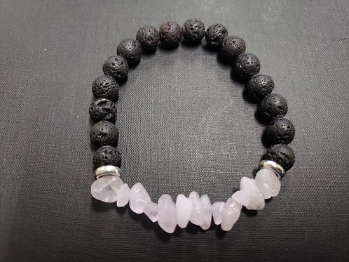 Rose Quartz Lava Rock Bracelet(Increase Popularity, Attract Love,Heath Benefits)