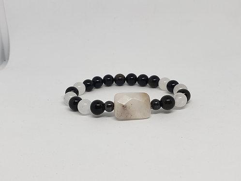 Charged Amethyst, Hematite, Obsidian Bracelet (healer,remove negativity,health)