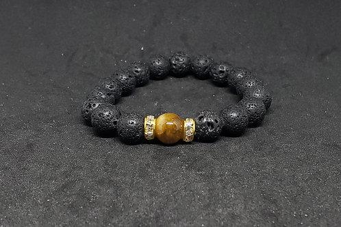 GOLDEN Tiger Eye & Lava Bracelet(Calm Emotions,Decision & $Making,HealthBenefits