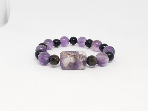 NATURAL Charged Amethyst, Onyx,Gold Obsidian Bracelet (healer,remove negatively)