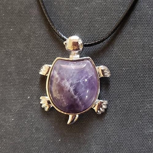 NATURAL Amethyst turtle necklace (master healer, calm emotions)