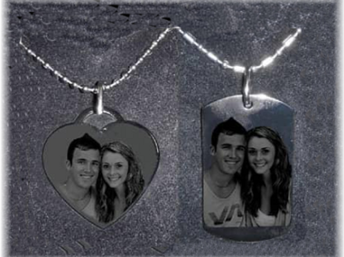 Personalized Gift Set-One Heart Necklace & One Dog Tag -SHIP NEXT DAY