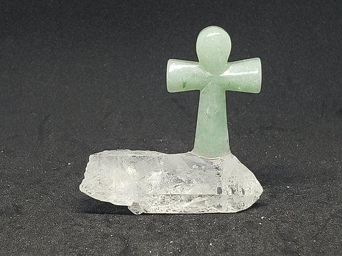 Aventurine Cross & Crystal Quartz Decor(healer,calm emotions,reduce stress)