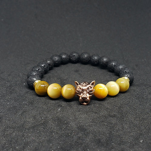 NATURAL Tiger Eye & Lava Bracelet(Calm Emotions,$ Making,remove negatively)