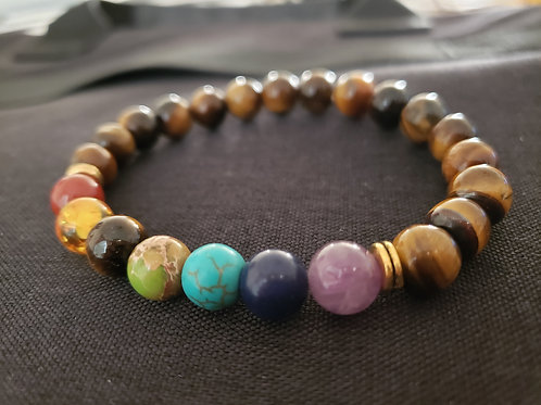 NATURAL 7 Chakra Bracelet(calm emotions,remove negativity,$ making,cleanse aura)