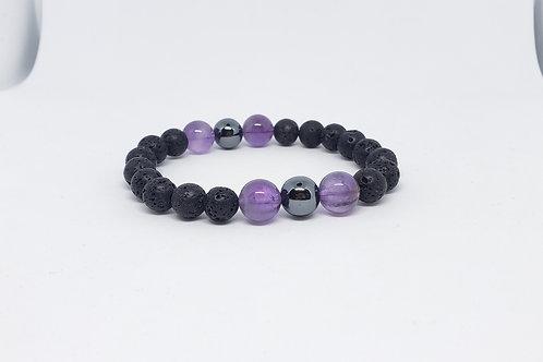 Charged Amethyst,Hematite,Lava Rock Bracelet (healer, remove negativity, Health)