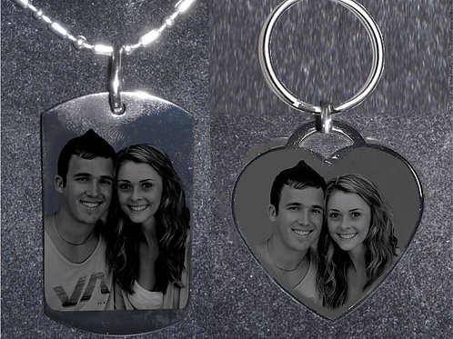 Personalized Gift Set - Dog Tag & Heart Keychain
