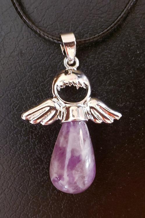 NATURAL Amethyst Angel necklace (master healer, calm emotions)