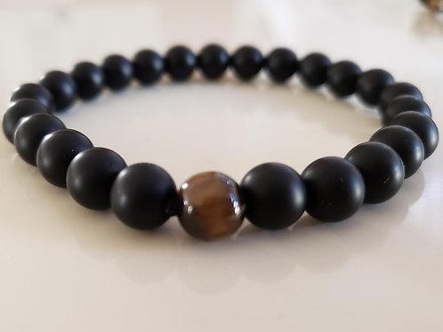 Onyx Tiger Eye Bracelet(healing, calm emotion,decision & $$ Making)