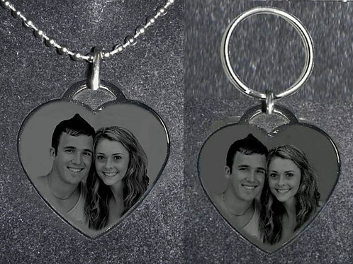 Personalized Gift Set - Heart Necklace & Heart Keychain