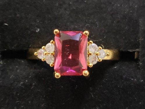 18K Gold Filled Crystal Ring - size 6,7,8