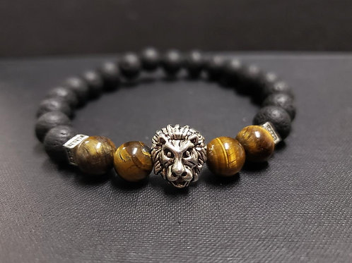 NATURAL Tiger Eye Lava Rock Oil Essential Bracelet (make decision, $$ making)