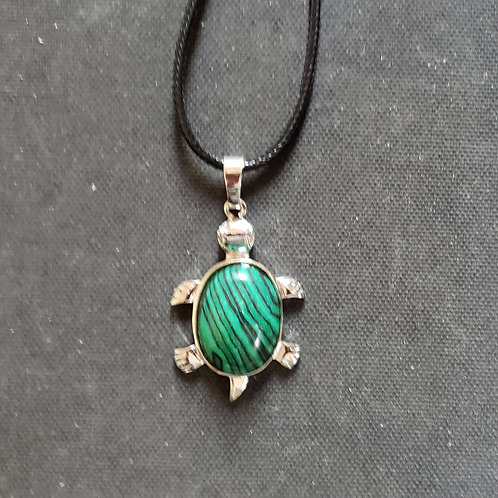 NATURAL Malachite Turtle Necklace (deep energy cleansing,bring positivity,healin