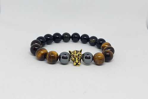 Charged Obsidian,Tiger Eye,Hematite Bracelet(Healer,Decision Making,Protection)