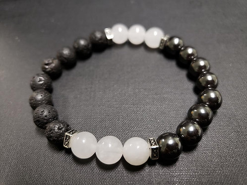 Jade Hematite Lava Rock Bracelet(Protection,Healing,calm emotion,Health Benefits