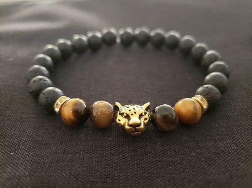 NATURAL Tiger Eye Lava Rock Bracelet (make right decision, $$ making)